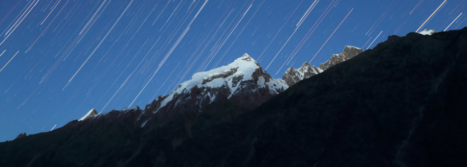 Star trails over Liligo Peak, Pakistan